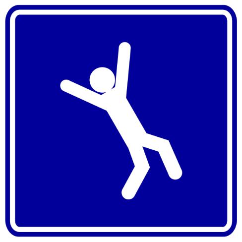 verkeersbord met vallend poppetje