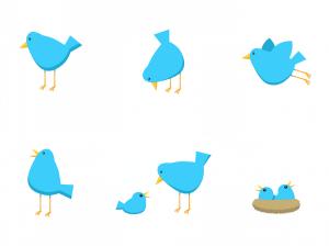 blauwe vogeltjes - afbeelding bij Twitter tips blog