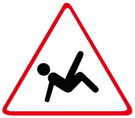 gevarendriehoek met vallend poppetje