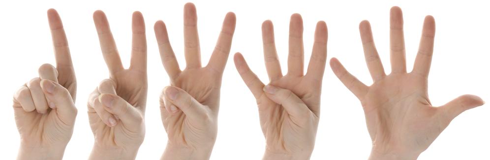 vingers die van 1 tot 5 tellen