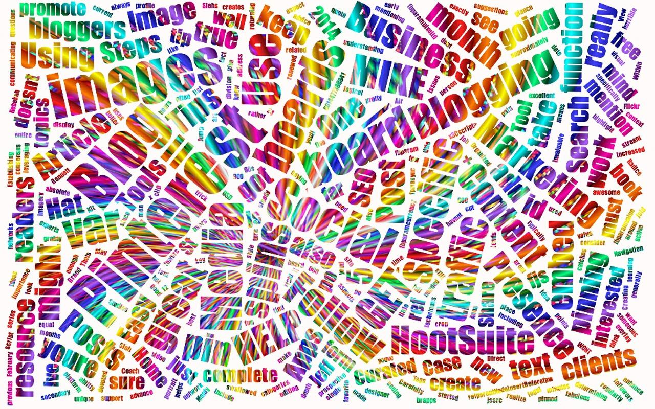 illustratie met allerlei online marketing termen - afbeelding bij blog over marketing onzin