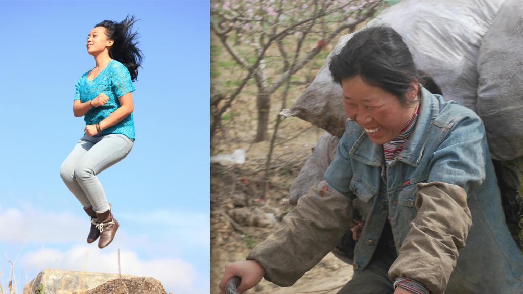 springende vrouw en vrouw op fiets met bagage - afbeelding bij Dochters van Mulan recensie blog