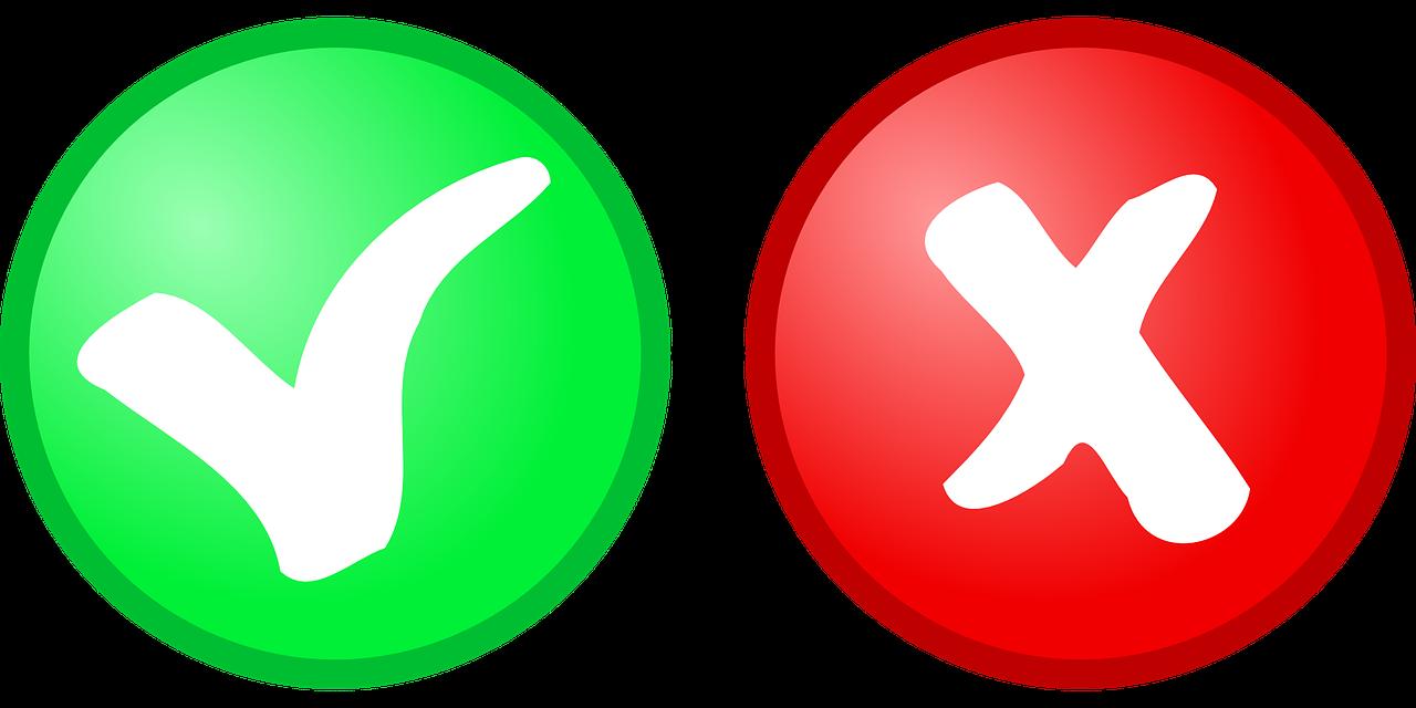groen vinkje, rood kruisje - afbeelding bij blog over vaker nee zeggen