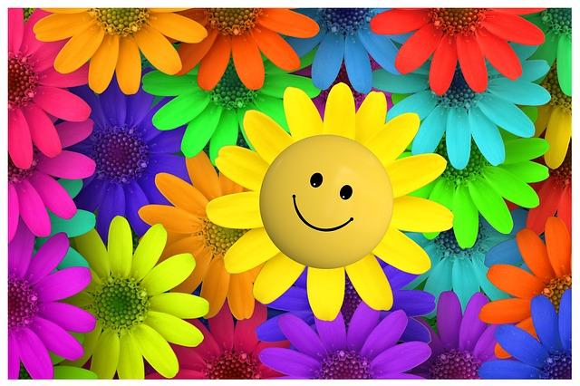 illustratie van felgekleurde bloemen met één smiley - afbeelding bij lol van ondernemerschap blog