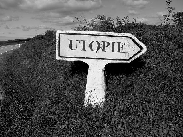 richtingbord waar utopie op staat