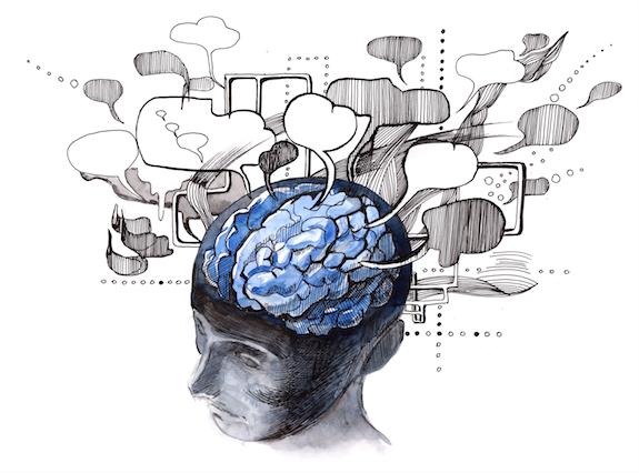 tekening van hoofd met brein met denk-wolkjes - afbeelding bij blog over focus
