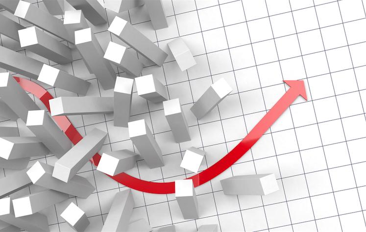 illustratie met rode pijl omhoog - afbeelding bij de blog Waar ligt het ondernemers kantelpunt?