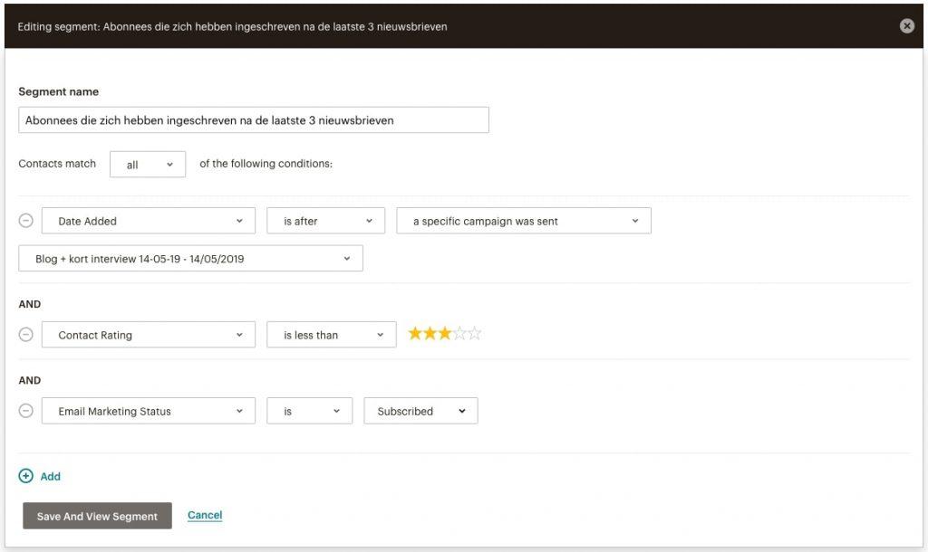 Mailchimp screenshot van een segment