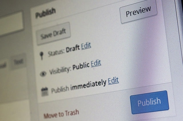 WordPress publish screenshot